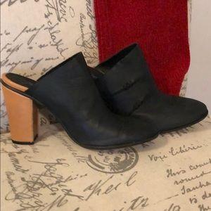 Free people black leather mules